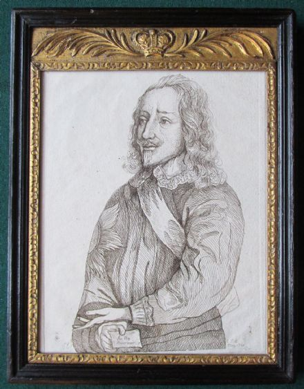 18th Century Georgian Antique Engraving of King Charles I Stuart of England